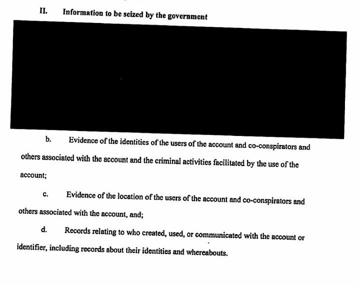 A portion of the redacted search warrant released on Tuesday. (Click for a larger view)