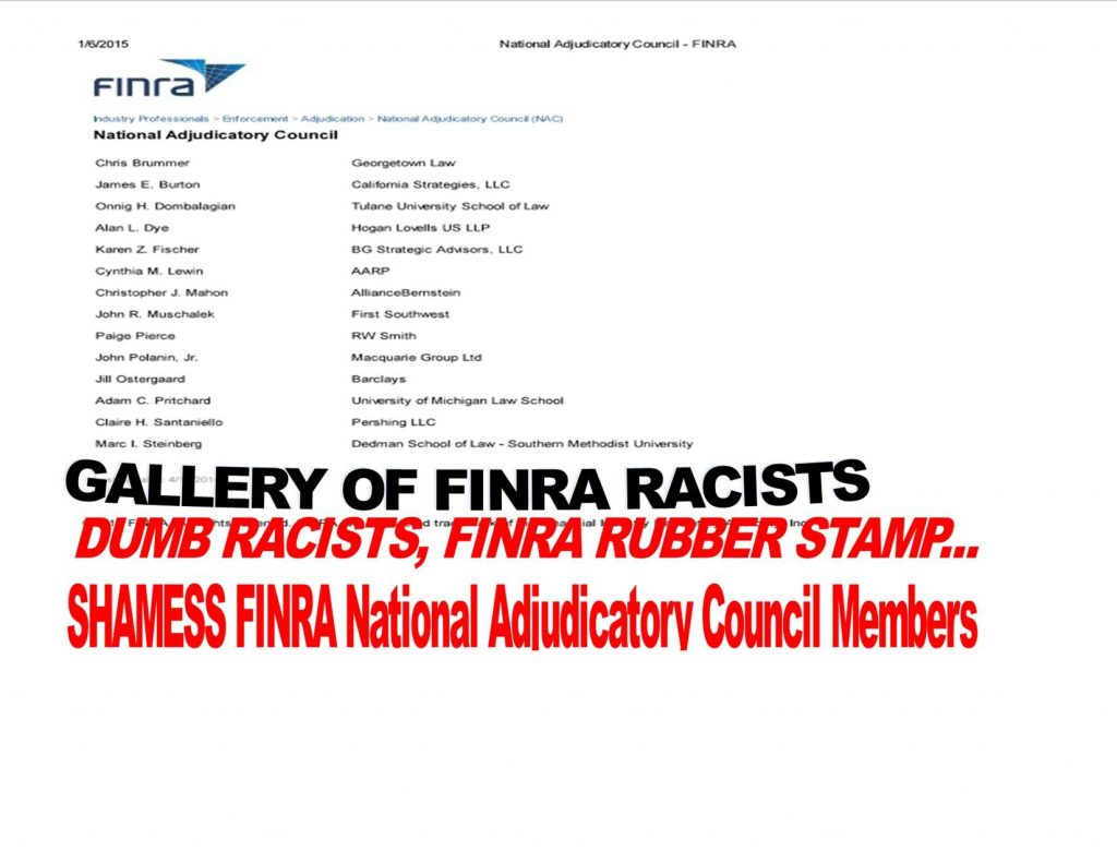 Shameless FINRA National Adjudicatory Council Members Exposed