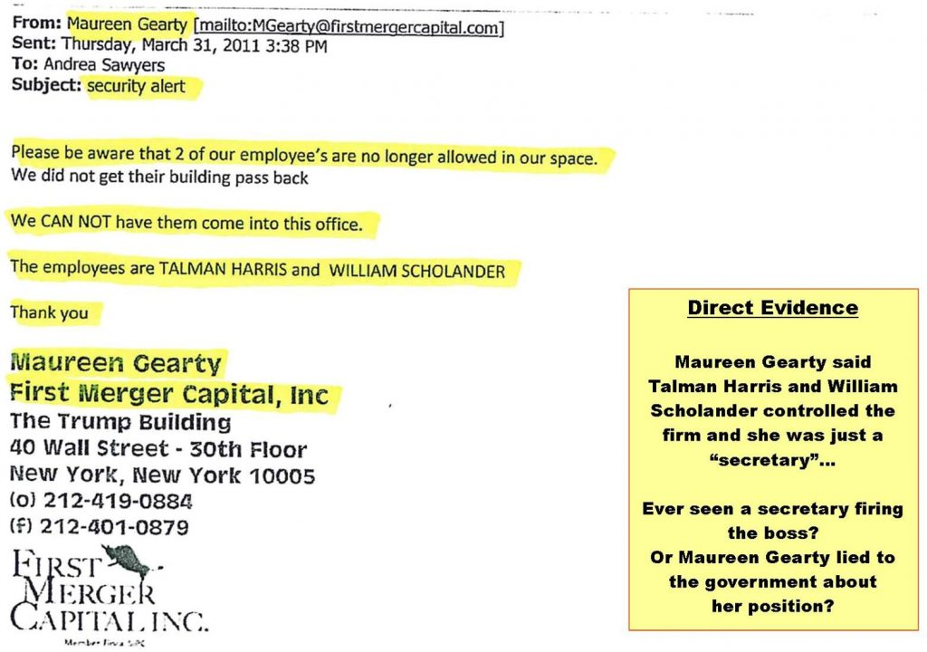 Maureen Gearty's lies to the government, in control of the defunct brokerage firm