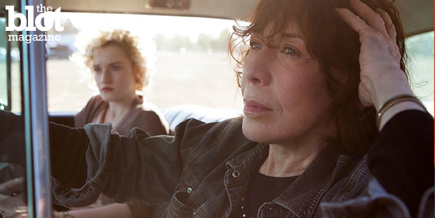 """Director Paul Weitz wrote """"Grandma"""" for Lily Tomlin, and the actress shines as the misanthrope title character in the poignant pro-choice, pro-gay dramedy. Above, Julia Garner and Tomlin in a scene from the film. ('Grandma' photo)"""