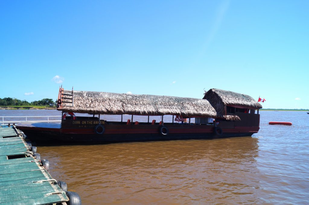 Dawn on the Amazon, the boat. (photo by Kirsten Koza)