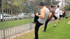back row knee lift and row