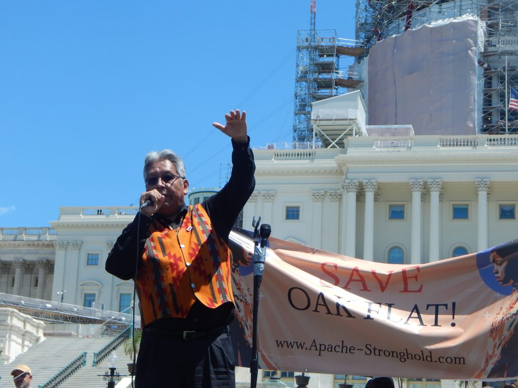"""San Carlos Apache Tribal Chairman, Terry Rambler, praised the """"Apache Stronghold"""" for their successful spiritual journey from sacred and holy Apache land to the U.S. Capitol in an effort to keep protecting ancestral holy Apache land at Oak Flat in Arizona (Sandra Rambler Photo)"""