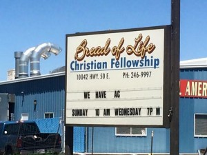 A church near the ranch uses AC to entice. (Photo by Steve Pederson)