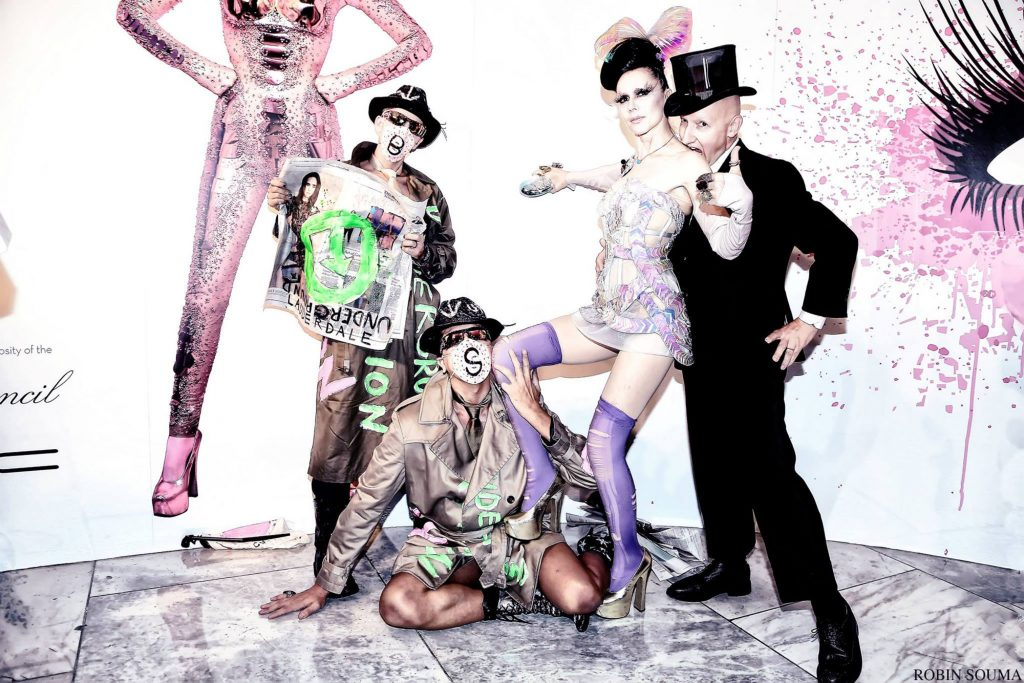 Scooter LaForge, Gazelle Paulo, Susanne Bartsch and Stephen Jones at FIT. (Photo by Robin Souma)