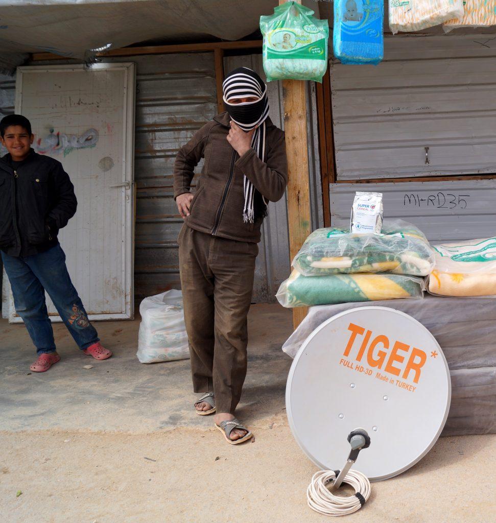 Satellite dish for sale at Zaatari refuge camp. (Photo by Kirsten Koza)
