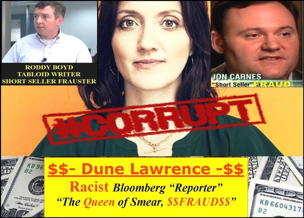 DUNE LAWRENCE, Lying Bloomberg Reporter, A Racist Troll Caught In A SMEAR CAMPAIGN