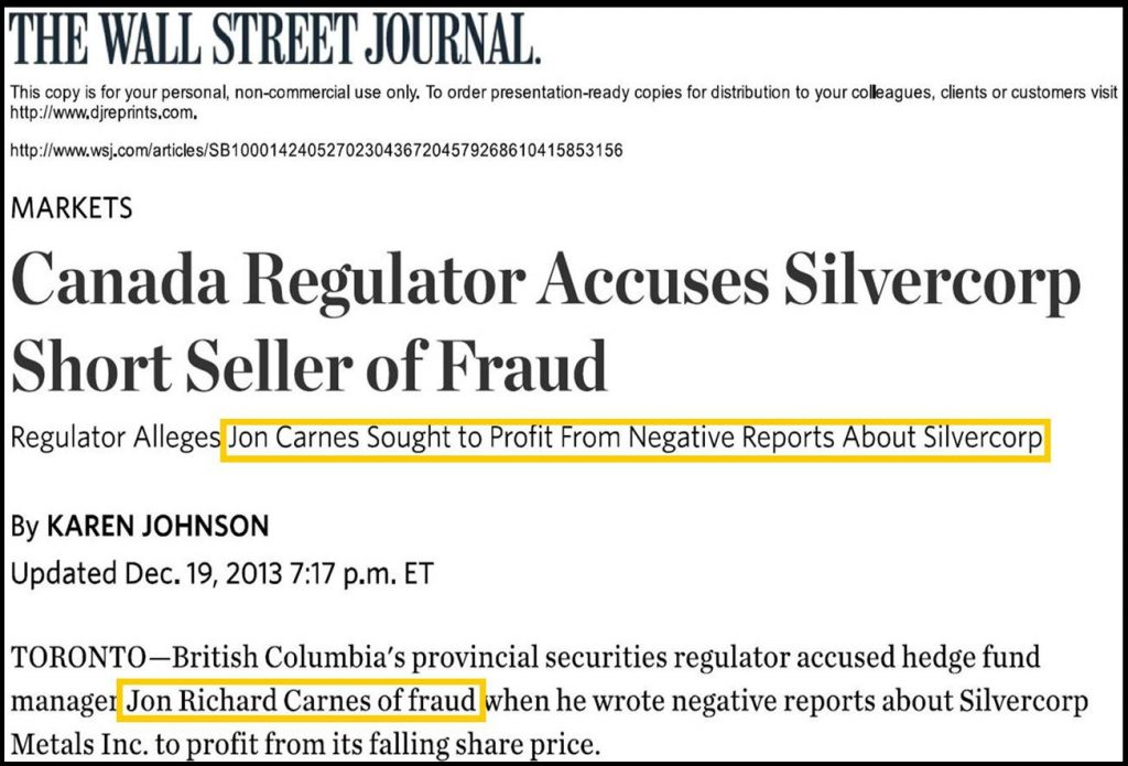 Jon Carnes, Roddy Boyd Charged, Massive Short Seller Stock Fraud, Wall Street Journal Reports