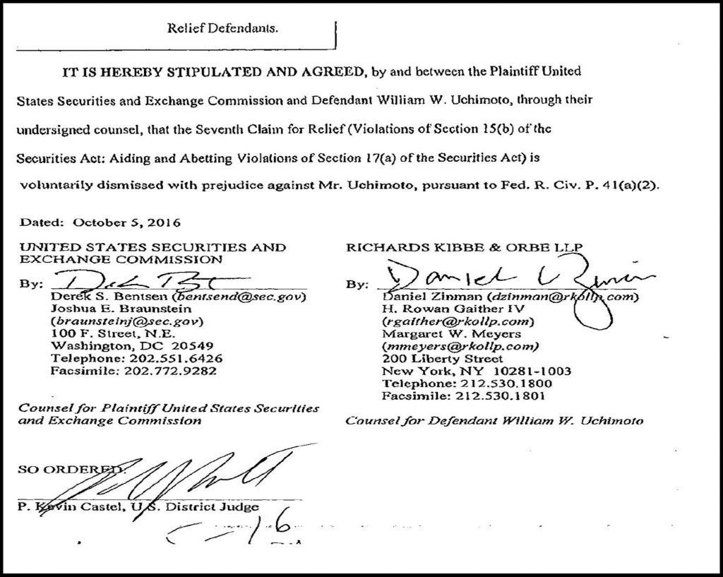 SEC drops fraud charges against lawyer William Uchimoto, SEC staff Derek Bentsen, Steven Susswein, Cheryl Crumpton fabricated case