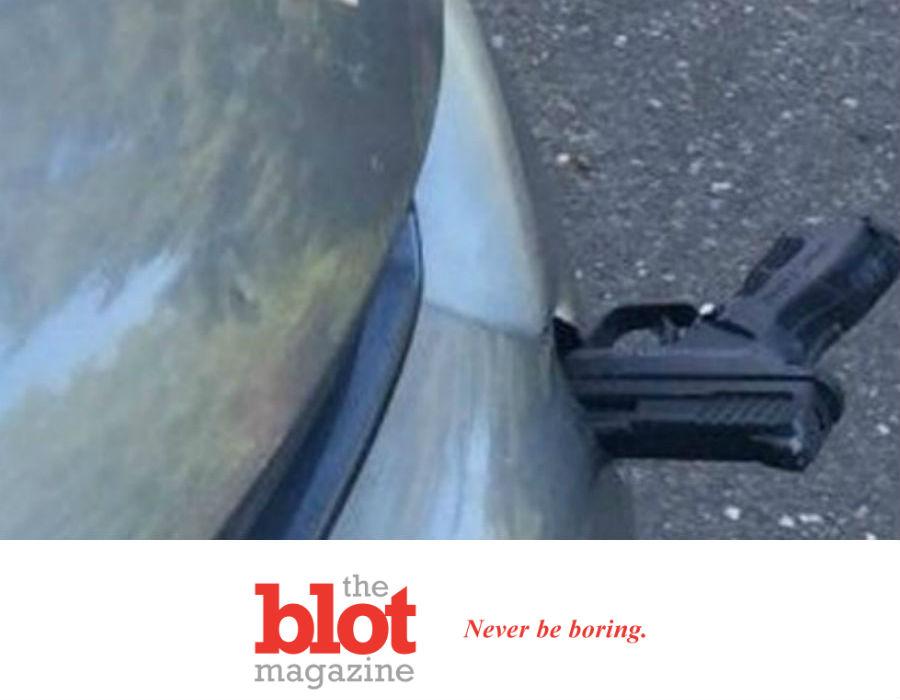 Washington State Commuter Finds Gun Stabbed into Car Bumper