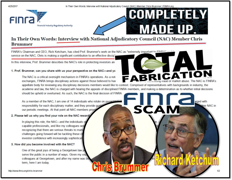 BRREAKING NEWS, FINRA Put Up Fake NAC Member Chris Brummer Interview on Official Site, Former CEO Richard Ketchum Caught Whitewashing Rigged FINRA NAC Hearings