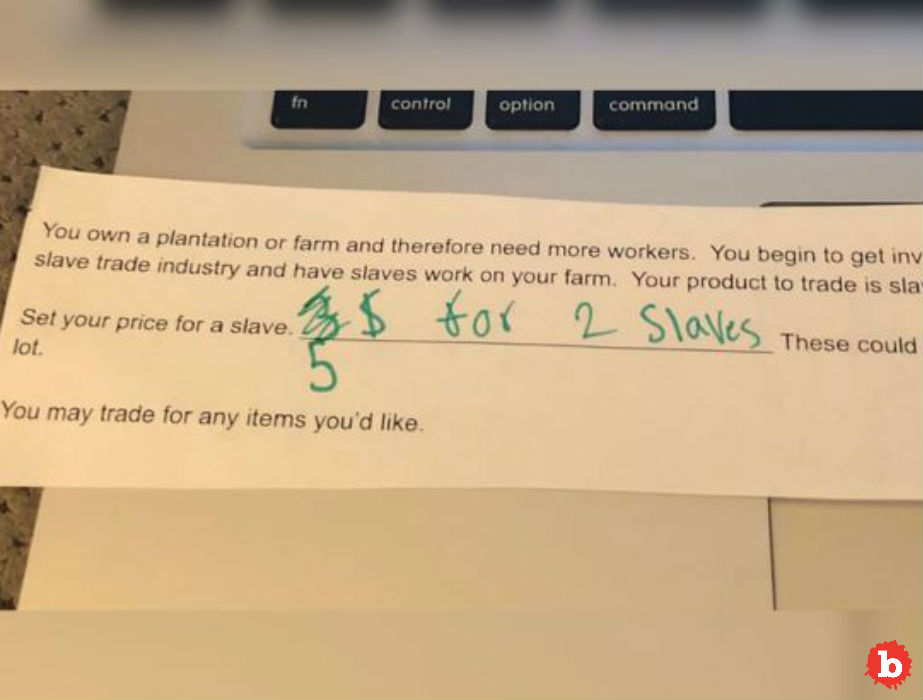 Missouri 5th Graders Classroom Assignment to Set a Price for a Slave