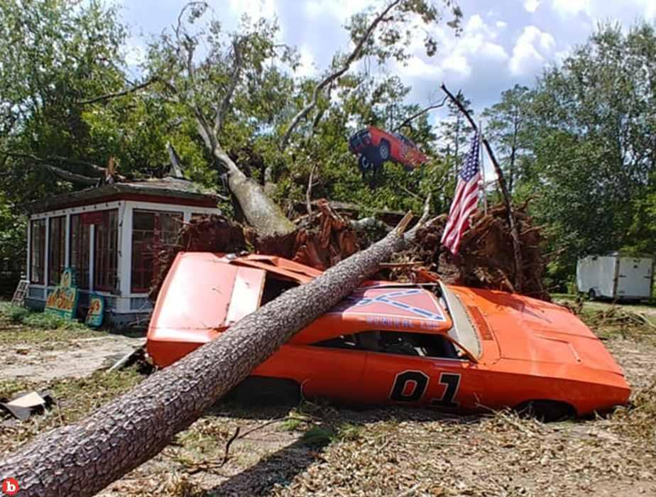 """Duke Star John Schneider's """"General Lee"""" Crushed By Hurricane Ida"""